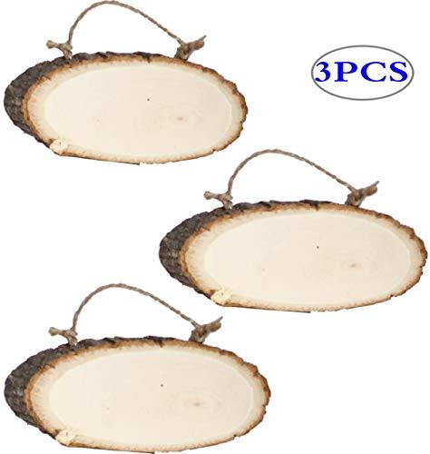 Liuer Rond natuurlijke houtschijven 3PCS houten Log schijven met boomschors Onbehandelde DIY ambachtelijke decoratie hout tafeldecoratie bruiloft kerst boom hanger (1 cm dik)