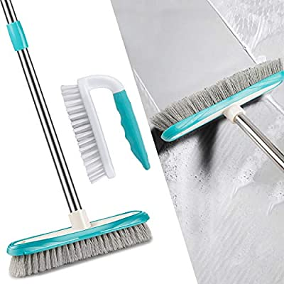 MEXERRIS Scrub Brush with Floor Scrubber Brush Long Handle Combo Cleaning Kits, Stiff Bristles Durable Scrubbing Grout Brushes for Bathroom, Shower, Sink, Bathtub, Tile, and Kitchen Surface