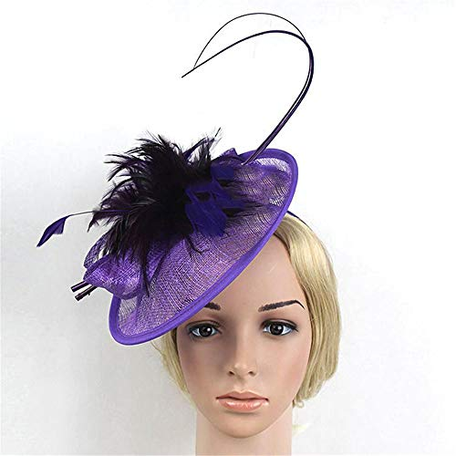 KERVINFENDRIYUN YY4 Brauthut-Haarschmuck Retro Stirnband Kopfschmuck Pferd Verein Reiter Hut Pferderennen Abschnitt Hanf Garn Haarzusätze (Farbe : Lila)