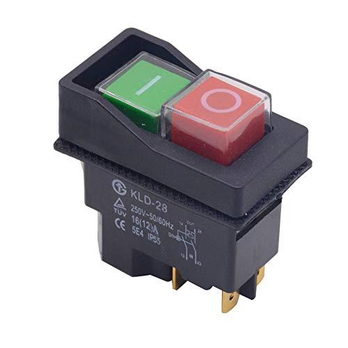 Interruptores de seguridad para herramientas eléctricas, interruptor de botón electromagnético resistente al agua Interruptores electromagnéticos para máquinas de corte mecánicas de 4/5 pines