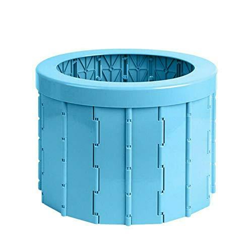 Tragbare falttoilette, Toiletteneimer Reisetoilette Outdoor, Waschen des Toilettendeckels Toilettentür, Autoklimaanlage, ältere schwangere blau