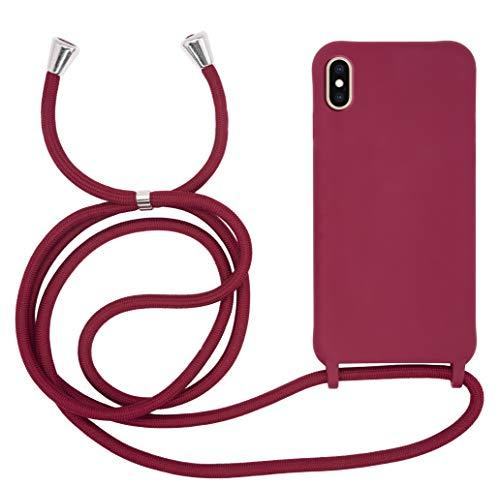 MyGadget Funda con Cordón para Apple iPhone XS MAX - Carcasa en Silicona con Cuerda - TPU Case Rigida y Opaca con Correa para Llevar en el Cuello in Bordeaux