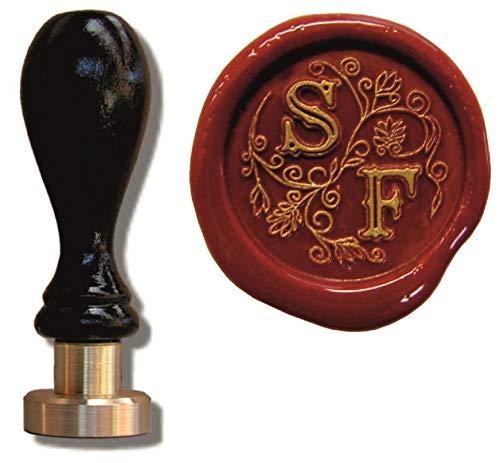 UDIG Siegelstempel mit Gravur, Schriftart Illuminata, Petschaft 2 Initialen personalisierbar, Stempel 8cm, Siegel 24mm