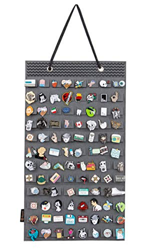 Hanging Brooch Pin Organizer, Display Pins Storage Case, Brooch Collection Storage Holder, Holds Up to 96 Pins.(Not Include Any Accessories) (S-96 Slots, Grey)