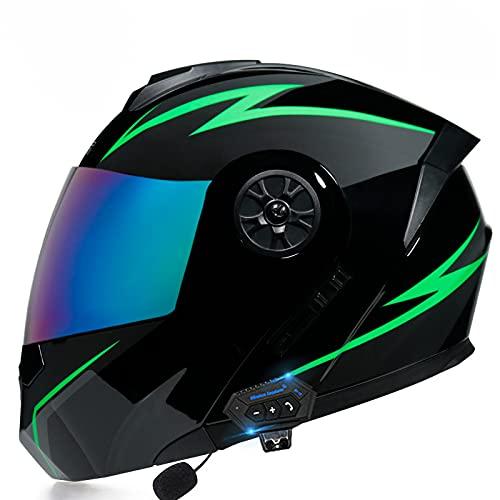 Skyout Casco Bluetooth para Motocicleta Abatible hacia Arriba Casco Modular Motocicleta Aprobado ECE con Visores Duales Antivaho Casco Abierto Carreras Motocross E,XL=61~62cm