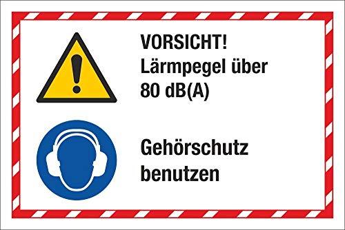 WERBEPUNKT. Kombischild Lärmpegel über 80 db Gehörschutz benutzen 3 mm Alu-Verbund 300 x 200 mm