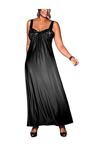 M.I.M. Damen-Kleid Abend-Kleid mit Perlen schwarz in Größe 46 Polyester Schwarz