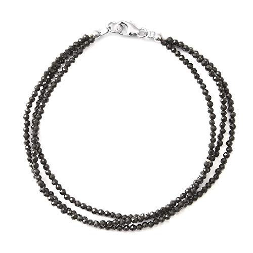 TJC 925 Sterling Silver Black Spinel Beaded Bracelet for Women Size 7.5 Inches