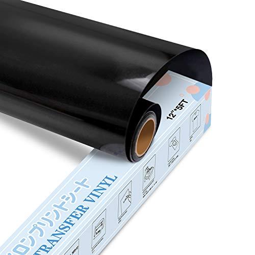 YRYM HT Premium Plotterfolie Textil-30.5cmx152.4cm Flexfolie für Aufbügeln von T-Shirts & Anderen Stoffen Stoffe(Schwarz)