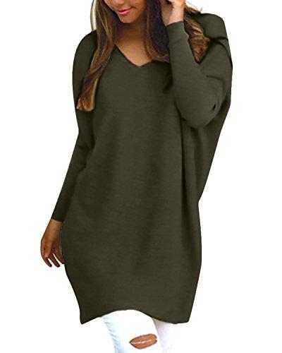 Style Dome Sweatshirt Damen Casual Langarm Rundhals Pullover Oversize Einfarbig Bluse Jumper Armeegrün-F723402 L