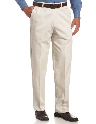 Haggar Men's Work To Weekend Hidden Expandable Waist No Iron Plain Front Pant,String,38x34