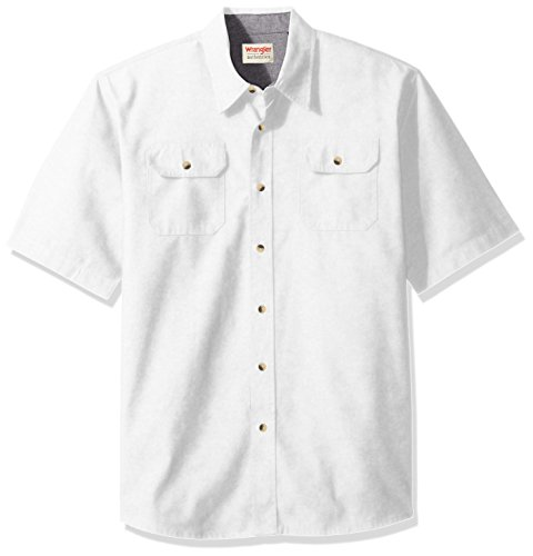 Wrangler Authentics Men's Short Sleeve Classic Twill Shirt, Bright White, 2XL