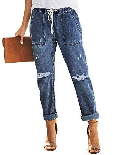 Bdcoco Women's Distressed Denim Joggers Pants Loose Elastic Waist Jeans