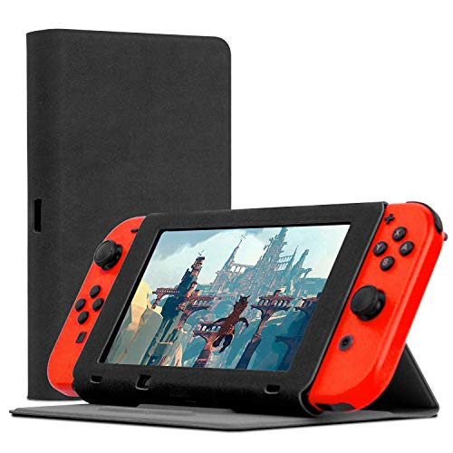 Orzly Screen Cover Stand Compatible With Nintendo Switch, SLATE BLACK Multi-Functional Tablet Case with built-in 3-Angle Stand & Protective Lid to Protect the Screen of the Nintendo Switch Console