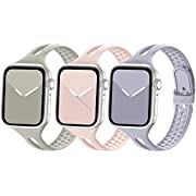Bandiction Compatible with Apple Watch Band 38mm 40mm, Breathable Women Narrow Slim iWatch Bands Silicone Sport Band Replacement Compatible for iWatch Series 6 SE 5 4 3 2 1, Sport Edition, 3 Pack