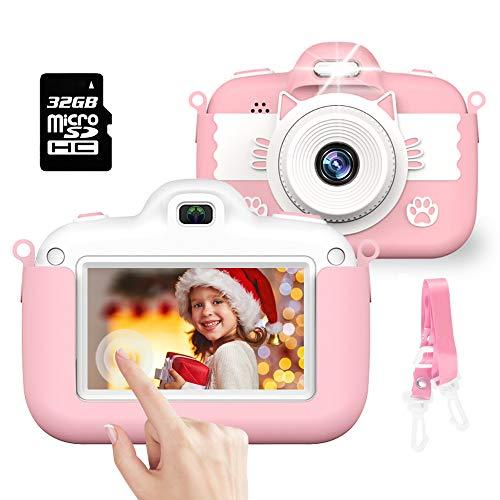 Cámara para Niños, Cámara Digital con Pantalla Táctil HD de 3.0 Pulgadas, Lector de Tarjetas con Correa de Tarjeta de Memoria de 30MP 1080P 32G, Festival de Cumpleaños de Navidad de 2 a 12 (Rosa)