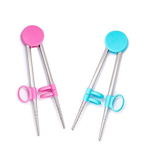 Adult chopsticks Children training chopsticks 6.5Inchs stainless steel reusable kids chopsticks for learning and training.2 pairs of chopsticks (pink+blue)