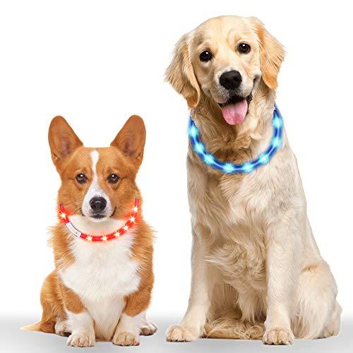 Leuchthalsband Hund 2 Stück, Vegena LED Hundehalsband Leuchtend Längenverstellbarer Wiederaufladbare USB Hunde Halsband für Kleine Mittlere Große Hunde Katzen mit 3 Modus 12 Lichte, Blau Rot