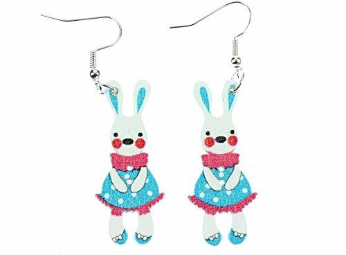 Miniblings Osterhase Ostern Ohrringe Hänger Osterhäschen Hase Häschen Bunny blau - Handmade Modeschmuck I Ohrhänger Ohrschmuck versilbert