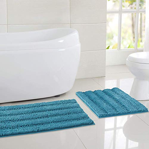 "NICETOWN Bathroom Rugs Slip-Resistant Absorbent Soft and Fluffy Thick Striped Bath Mats Non Slip Microfiber Dry Fast Bath Mats for Kids Pets Baby Nursery (Turquoise Blue, Set of 2-20"" x 32""/47"" x 24"")"