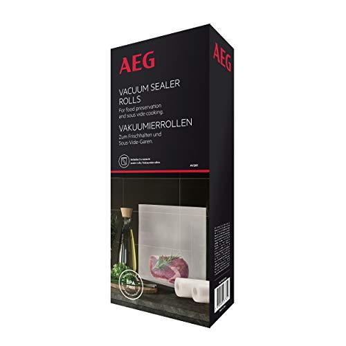 AEG AVSR1 Vakuumierrollen (Kühl- und gefrierschranktauglich, Frischhalten, Konservieren, Kochen, Sous-Vide-Garen, 7-Lagen, reißfest, individuell zuschneidbar, -30°C bis 110°C, transparent)