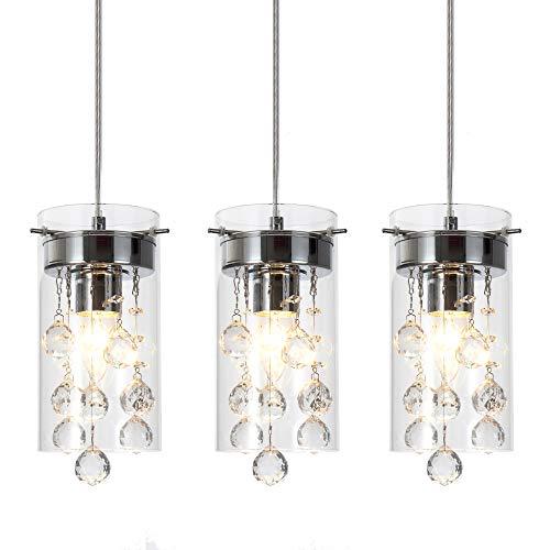 Wtape 3-Light Glass & Crystal Chandelier Pendant Light, Decorative Pendant Lighting for Kitchen Bedroom Hallway with 55.05'' Adjustable Cord