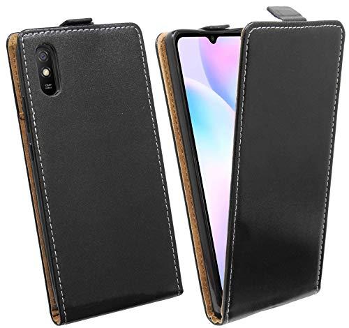 cofi1453® Flip Hülle kompatibel mit XIAOMI REDMI 9A Handy Tasche vertikal aufklappbar Schutzhülle Klapp Hülle Schwarz