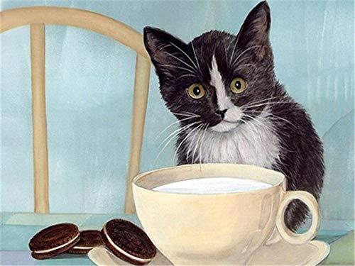 Yrhfys Diy Pintura Al Óleo De Diy Por Números Pintura Al Óleo Kit Adultos Niño Decoración Navideña Decoraciones Regalos Gato Animal Comiendo-40cmx50cm(Sin marco)