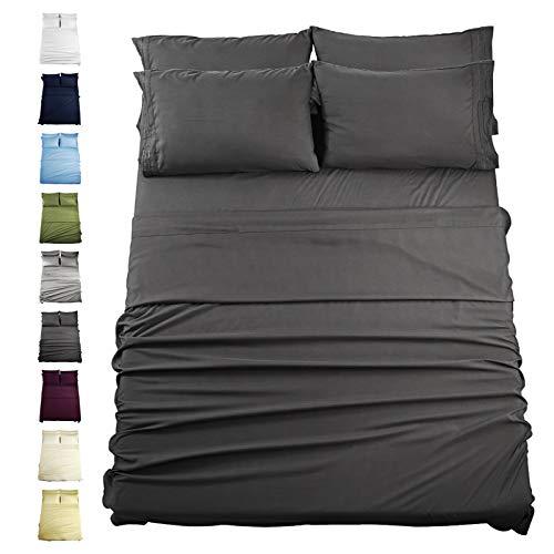 "EASELAND King Size 6-Pieces Bed Sheets Set 1800 Series Microfiber-Wrinkle & Fade Resistant,14"" Deep Pocket,Hypoallergenic Bedding Set,King,Dark Grey"