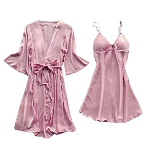 Fenverk Damen Morgenmantel Kimono Robe Satin Kurze Bademantel Mit Spitze Für Frauen Robe Schlafanzug Trägerkleid V Ausschnitt Nachtwäsche Saunamantel Set Nachthemd (Mantel+ Kleid )(Rosa,XL)