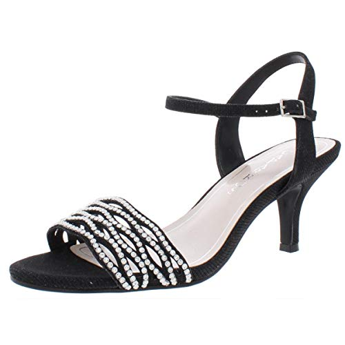 Caparros Womens Quirin Suede Open Toe Special Occasion, Black Glimmer, Size 8.0