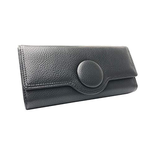 ピソラロ くるみボタン 大容量かぶせ長財布 ブラック PR113 約w20×h10×d4cm
