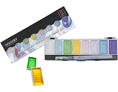 Pearlescent Water Color Paint, 8 Shimmery Colors, Artist Glitter Solid Watercolors with 1 Water Brush for Artists, Students and Painting Beginners
