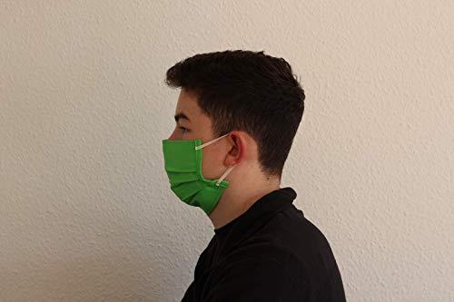 Baumwollmaske Mund Nase Maske waschbar hygienisch doppellagig - grün - genäht