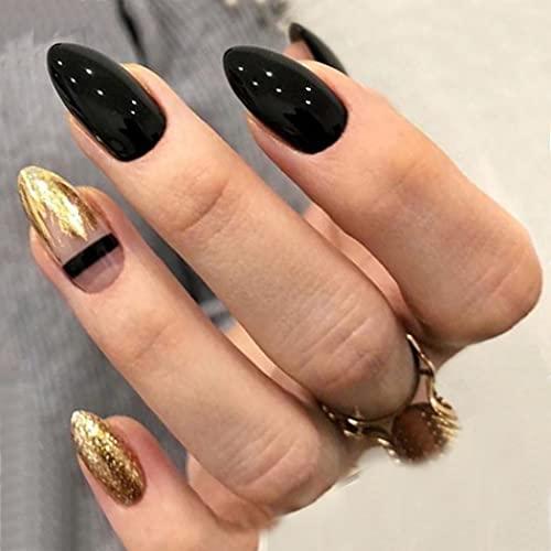 Brishow Sarg Künstliche Nägel Gold Glitter Falsche Nägel Kurze Drücken Sie auf die Nägel Ballerina Acryl Full Cover Stick auf die Nägel 24 Stück für Frauen und Mädchen