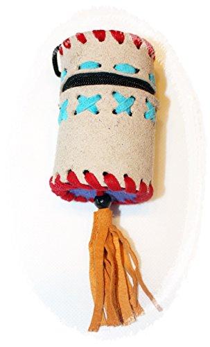 Hejoka-Shop 1 x Zylinder Täschen Medizinbeutel Lederbeutel Brustbeutel mit Reissverschluss 5 x 7 cm. verschiedene Farben Kindergeburtstag