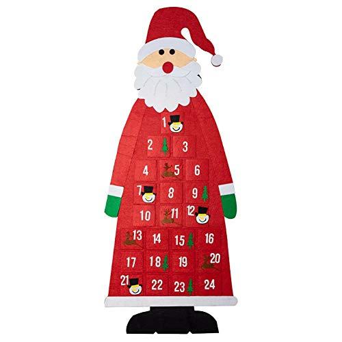 HSTD Christmas Felt Advent Calendar 3D Santa Advent Calendar With 24 Days Pockets Christmas Countdown Hanging Ornaments A