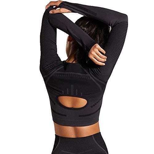 U/A langärmeliges Workout-Top für Damen, Fitness, Fitnessstudio, Bauchfreies Top für Athletik, Sportbekleidung Gr. M, B