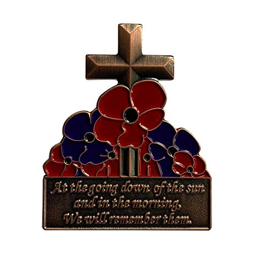 NEW Bronze Poppy Cross, Red & Purple Poppies Badge Pin Brooch UK Seller