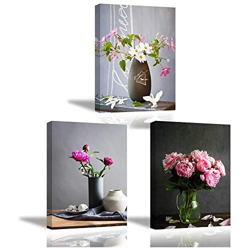 PIY PAINTING 3X Wandbild Leinwanddrucke von Rosa Pfingstrose in der Vase, Blume Fotobilder auf Leinwand mit Keilrahmen, Modern Image Kunstwerk als Küchendekoration, Familien-Neujahrsgeschenk, 30x40cm