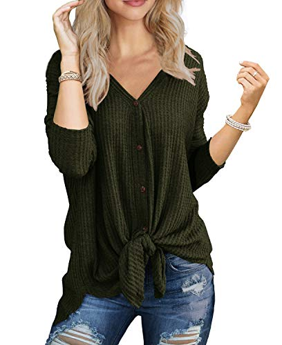 IWOLLENCE Womens Loose Henley Blouse Bat Wing Long Sleeve Button Down T Shirts Tie Front Knot Tops Army Green Large