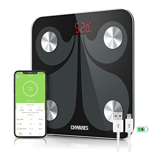 CHWARES Báscula digital de grasa corporal, carga por USB, báscula de baño con Bluetooth, con aplicación, báscula digital para analice,conversión de 3 unidades, báscula de grasa corporal inalámbrica