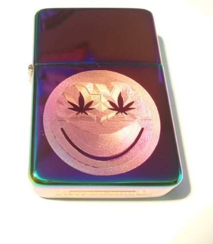 Vector KGM Thunderbird Custom Lighter - Smiley Face Marijuana Pot Weed Ganja Leaf Logo High Polish Rainbow Prism Rare! by Vector