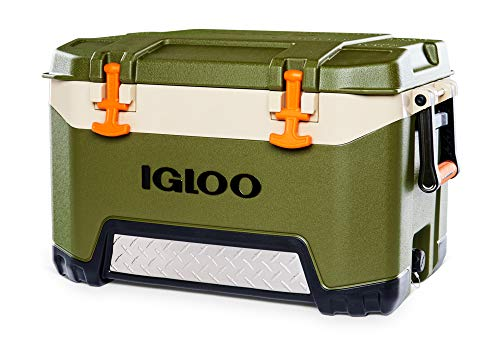Igloo BMX 52 Quart Cooler with Cool Riser Technology, Fish Ruler, and Tie-Down Points - 16.34 Pounds - Green and Orange