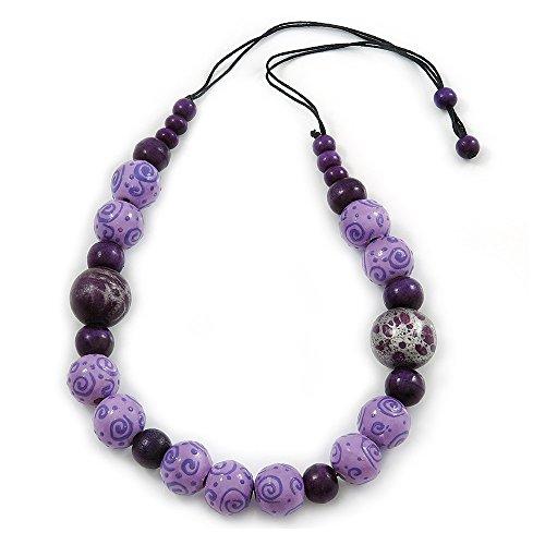 Colore: lilla/viola con perline in legno, corda in cotone, con collana, 70 cm, L, (regolabile)