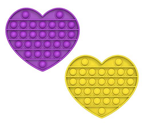 MAGIC SELECT Push Pop Bubble Sensory Fidget Toy, Giocattolo Anti Stress allevia l'ansia, Bolle di Silicone Push Pop, per Autismo Bisogno Speciale Antistress. (Cuore Giallo, Viola)