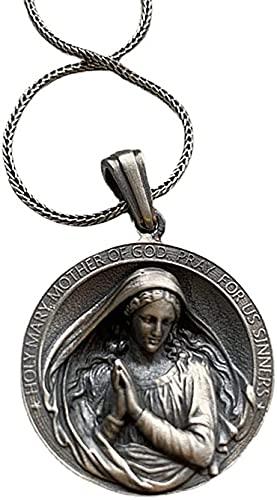 AMOZ Collar de Medalla Milagrosa Ovalada Nórdica, Virgen María/San Benito/Isabel Ⅱ Moneda con Dijes Religiosos Joyas para Mujeres Y Hombres, Joyería de Actualización/Plata/Los 60Cm
