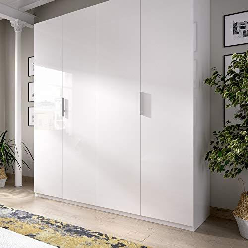 HOMEKIT Armario 4 Puertas batientes, Blanco BRILO, 180x204x52 cm