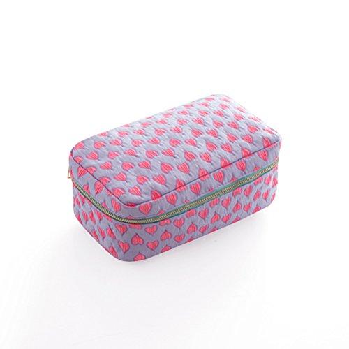 Trousse de maquillage portable pliable de voyage pour cosmétiques et produits de toilette (rose, violet)
