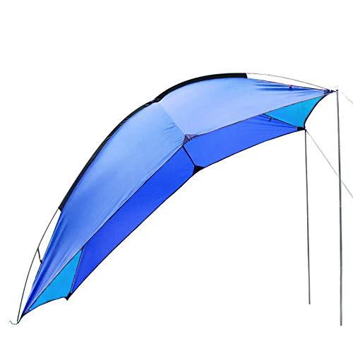 XBSJB Toldo En La Azotea del Coche Toldo Lateral Impermeable Duradero para Coche Varilla De Fibra De Vidrio para Remolque En La Playa para Acampar 5-6 Personas 2.4 * 1.9 * 2M,Azul